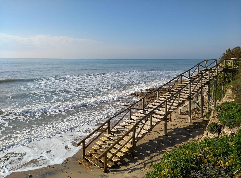Beach, Sea, High Tide, Access To Beach, Stairs, Wood