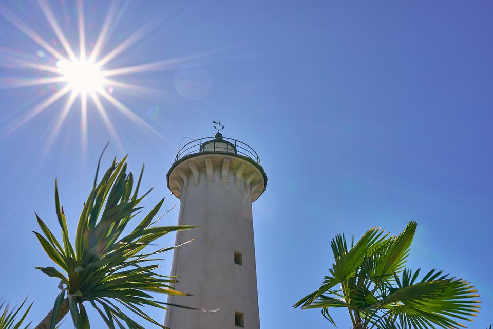 Lighthouse, Sun, Backlighting, Sky, Palm, Sea