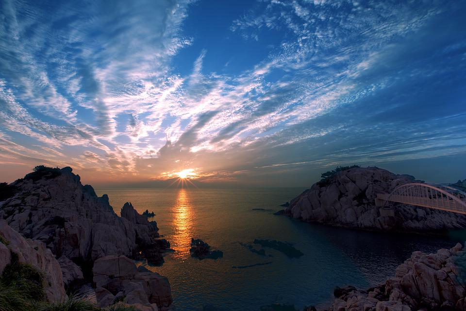 Sea, Mountains, Sunrise, Sunset, Sun, Clouds, Sky