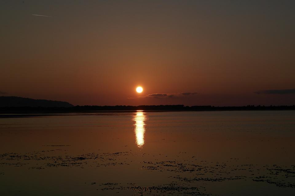 Sunset, Orbetello, Sea, Sun