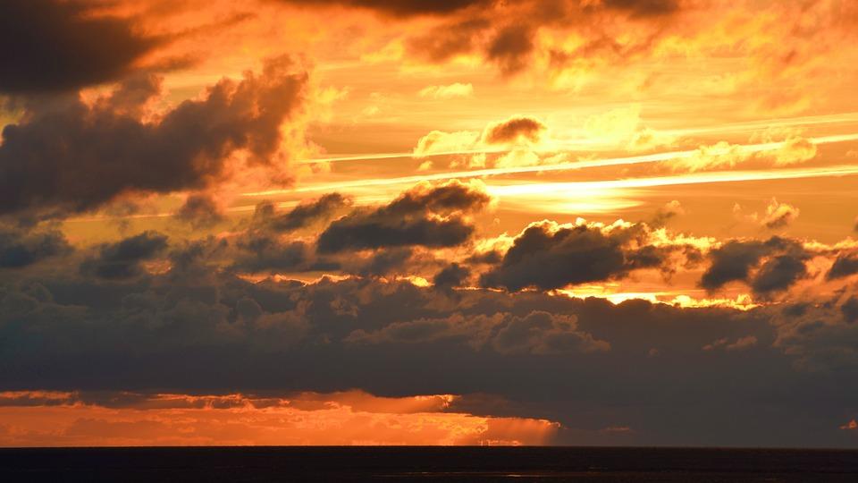 Sea, Clouds, Sky, Sunset, Water, Sun, Evening Sky, Gold