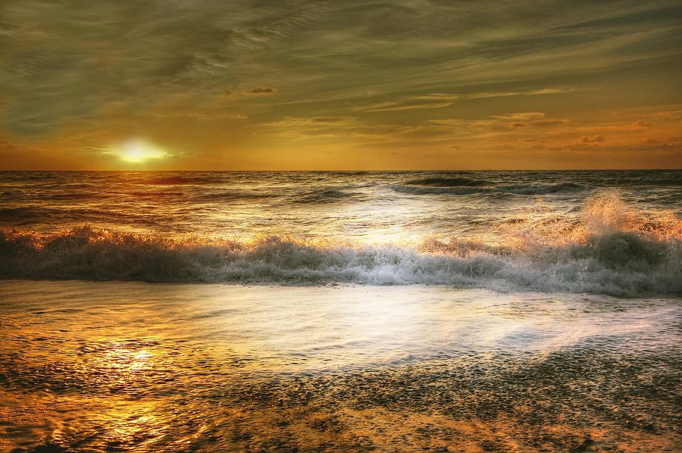 Sun, Denmark, Clouds, Sky, Coast, Sea, Water, Beach