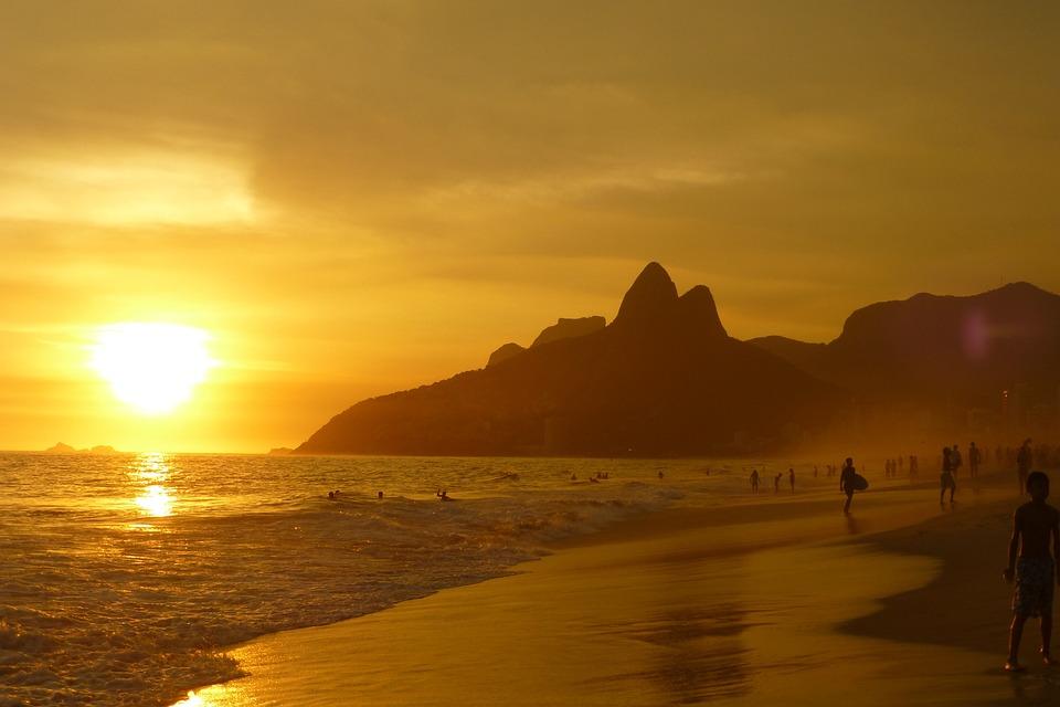 Beach, Sea, Sunset, Dusk, Sun, Sunlight, Sun Reflection