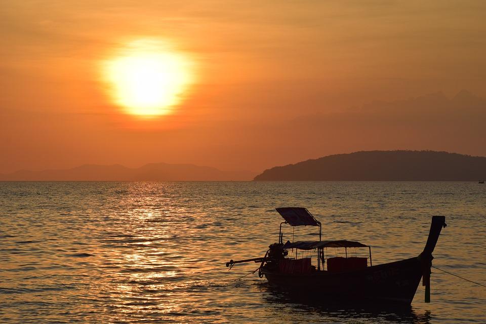 Sunset, Boat, Sea, Water, Sky, Sunrise, Ocean, Nature