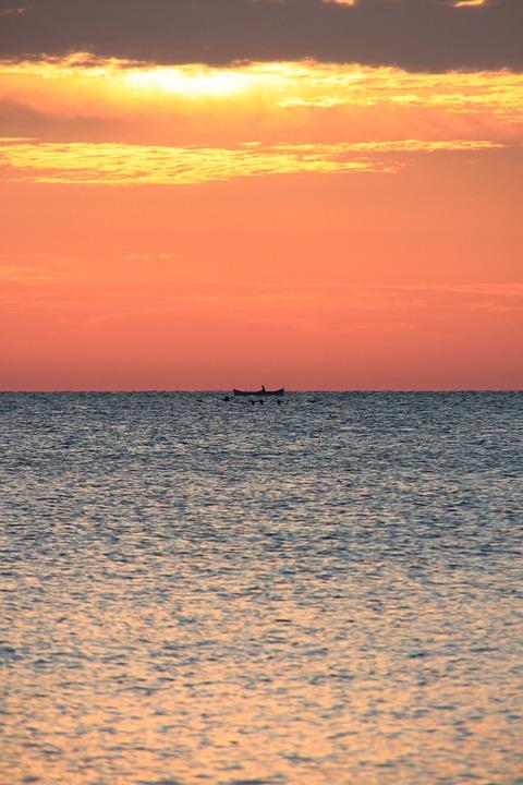 Boat, Dark, Fisherman, Fishing, Red, Sea, Sunrise