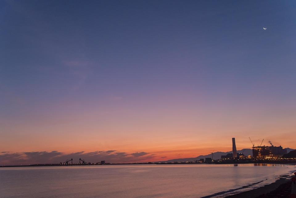 Sea, Sunrise, Sea 灣, Hai Bian, Moon, Bay