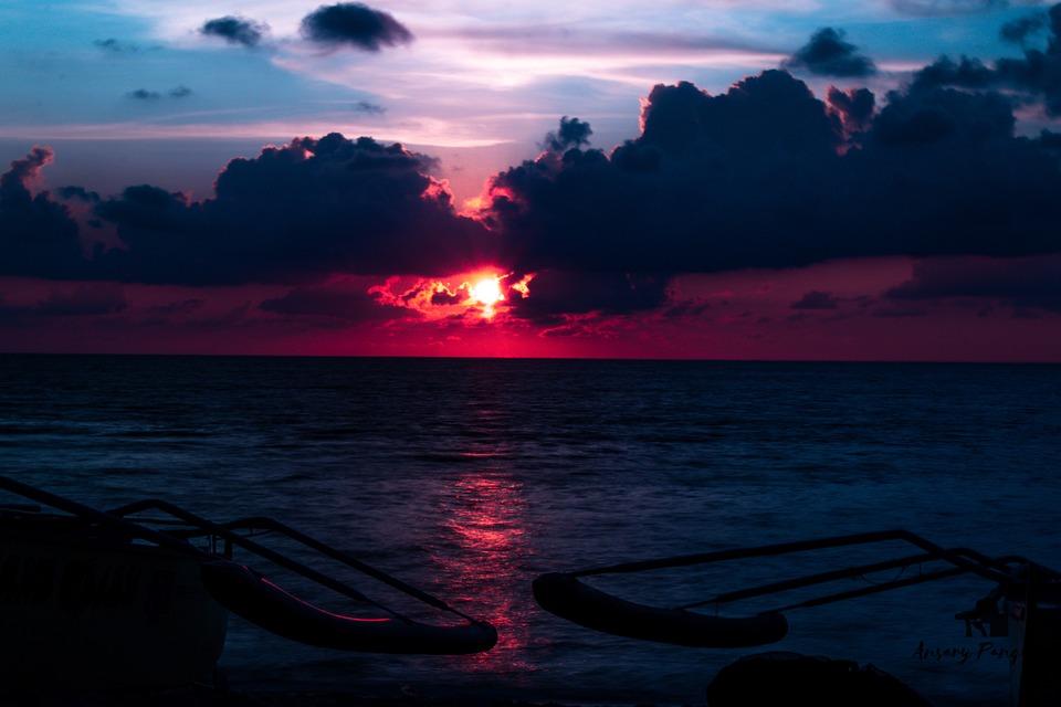 Sunset At The Beach, Beach, Sunset, Vacation, Sea