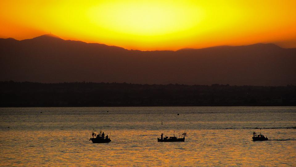 Sunset, Sea, Boats, Scenery, Evening, Orange, Tranquil