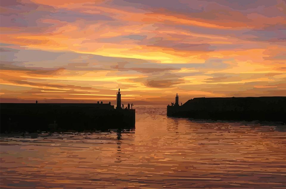 Dusk, Holiday, Sunset, Drawing, Port, Gate, Sea