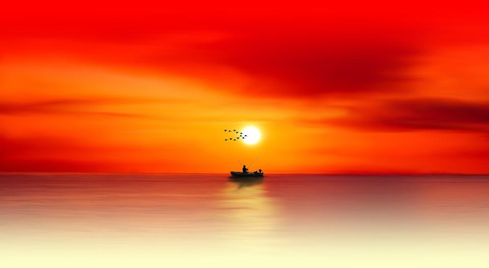 Sunset, Dawn, Sun, Dusk, Evening, Waters, Sea