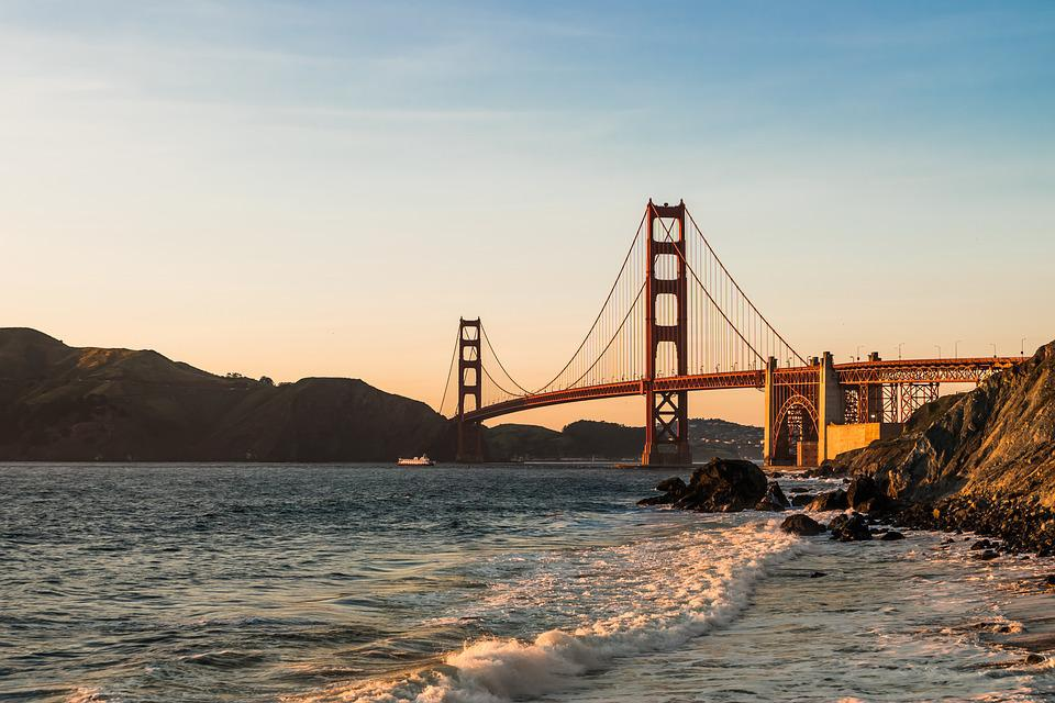 Bridge, Golden Gate, Sea, Sunset, Mountains