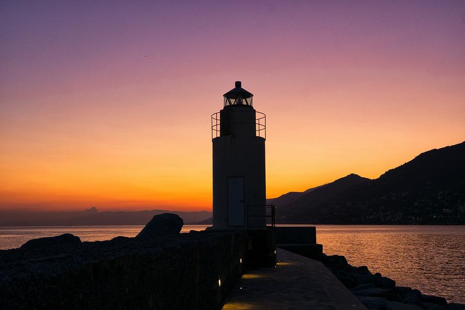Lighthouse, Sunset, Sea, Ocean, Camogli, Mountain