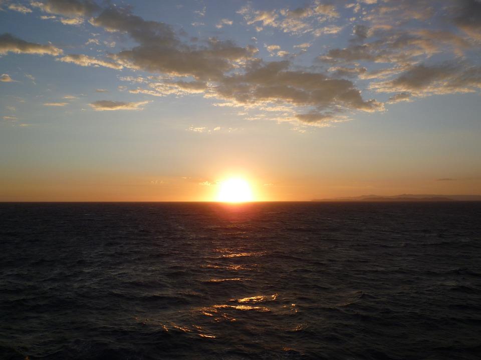 Morgenrot, Sunrise, Sea, Sunset, Horizon, Rest, Silent