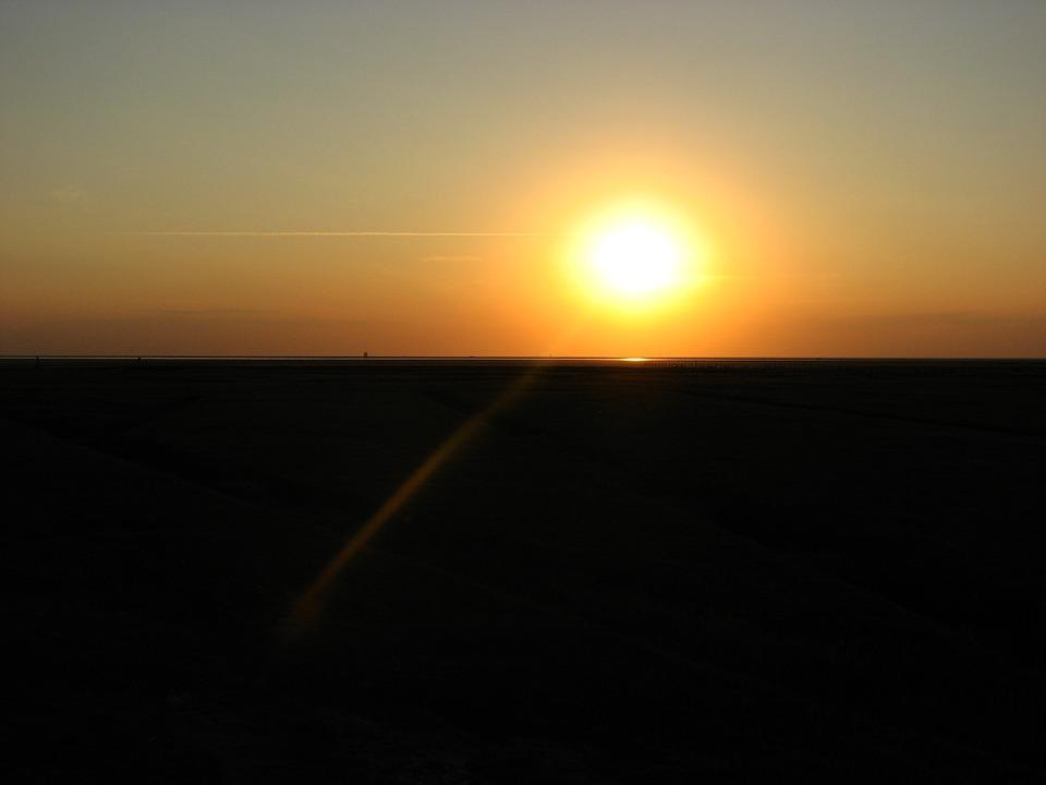 Sunset, Sun, Sea, Evening Sky, Abendstimmung, Beach