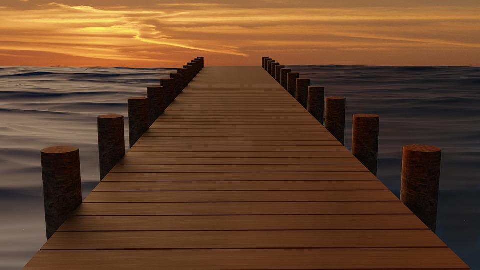 Pier, Sunset, Sea, Water