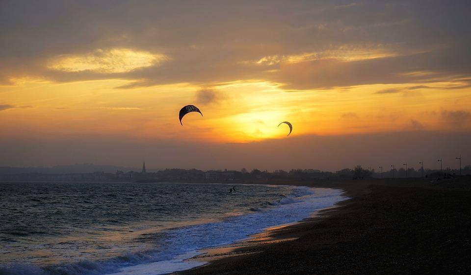 Sunset, Sky, Water, Sea, Nature, Sufers, Kitesurfers