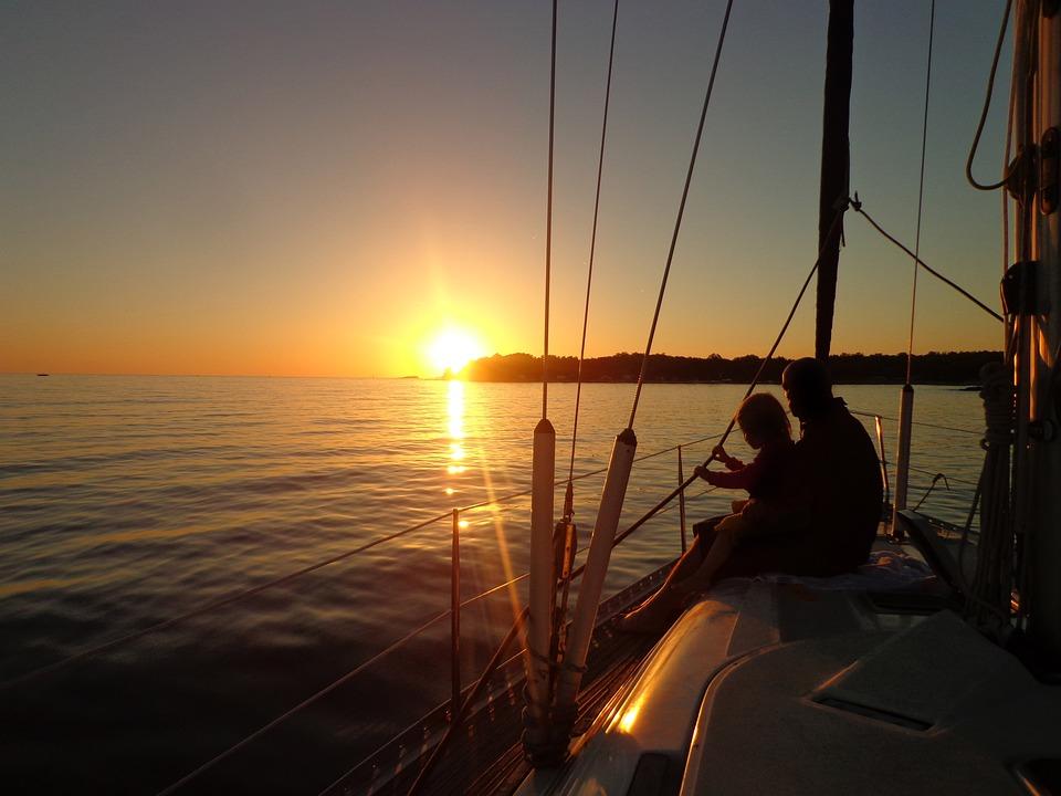 Sailing Boat, Sunset, Sea, Waves, Horizon