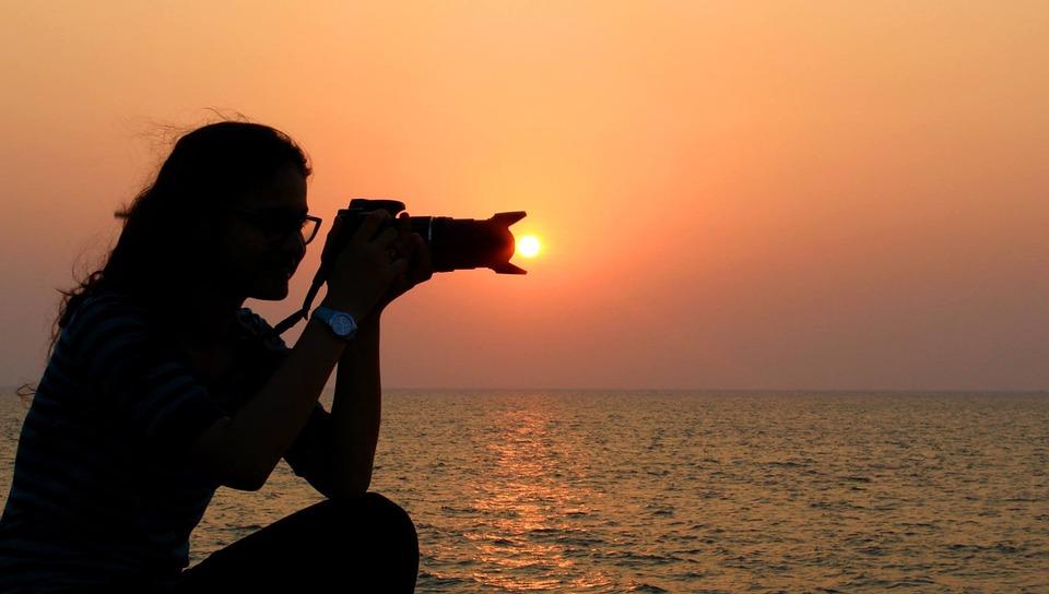Women Silhouette, Sunset, Sea, Photographer