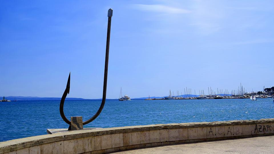 Anchor, Sea, Sailboats, Beach, Blue, The Coast