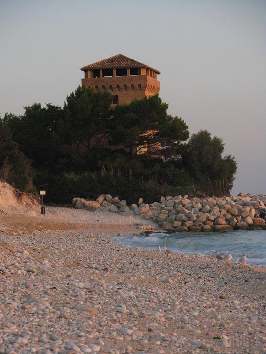 Torre, Sea, Portonovo, Ancon, Sun, Stones, Sassi