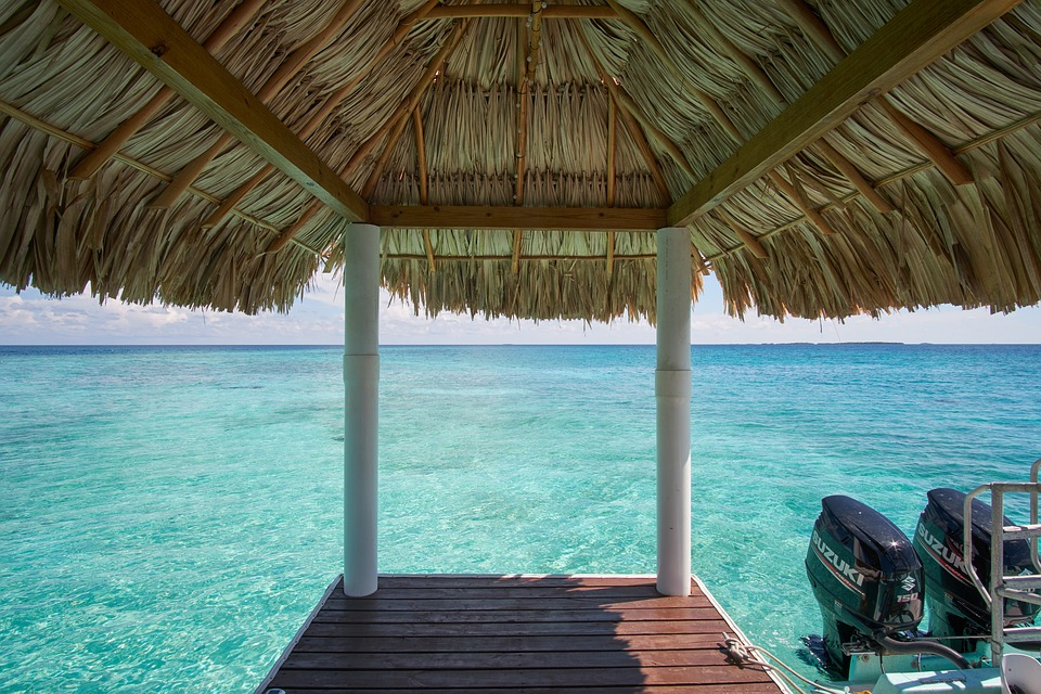 Dock, Ocean, Turquoise Water, Sea, Palapa