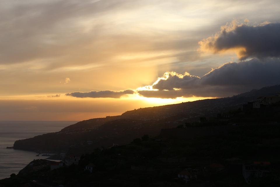 Sunset, Madeira, Sea, Island, Portugal, Vacations
