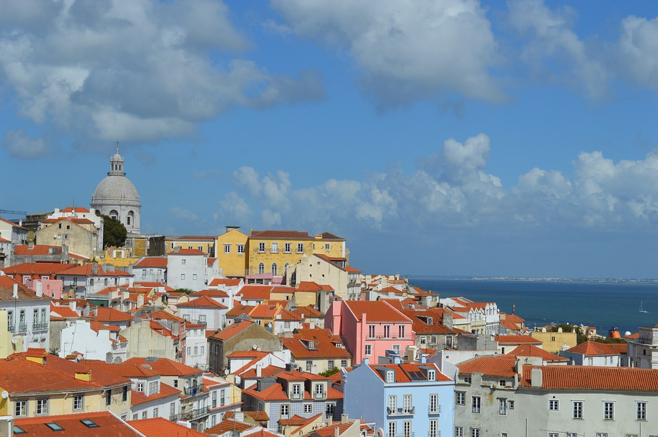 Lisbon, Portugal, View, Sea, Houses, Roofs, Orange