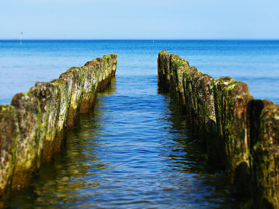 Sea, Water, Pale, Breakwater, Nature, Landscape, View