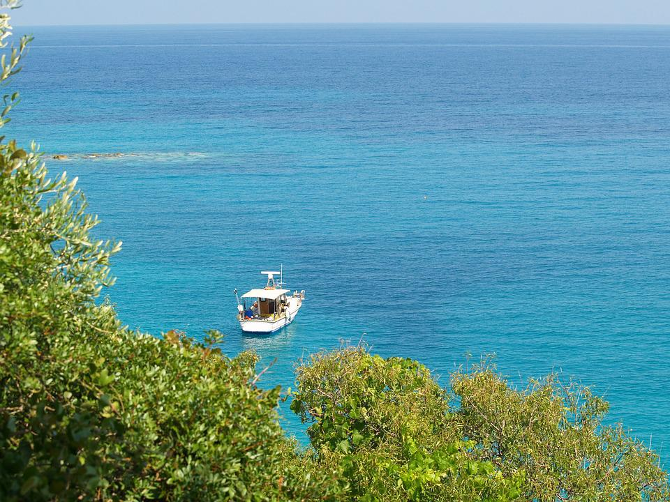Rowboat, Sea, View, Greece