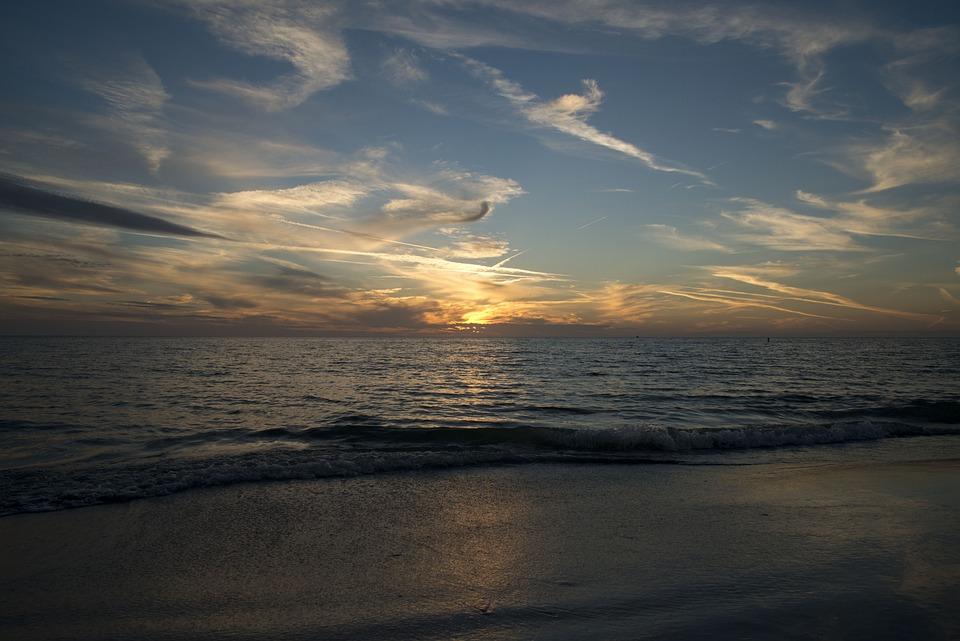 Sunset, Beach, Ocean, Water, Sky, Sea, Coast, Landscape