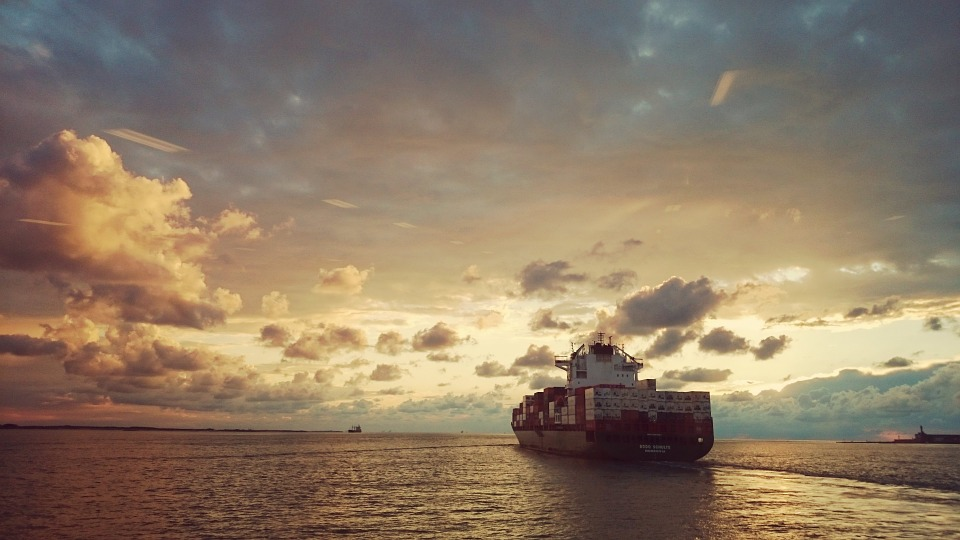 Ship, Sea, Sunset, Clouds, Water, Evening Sun, Compass