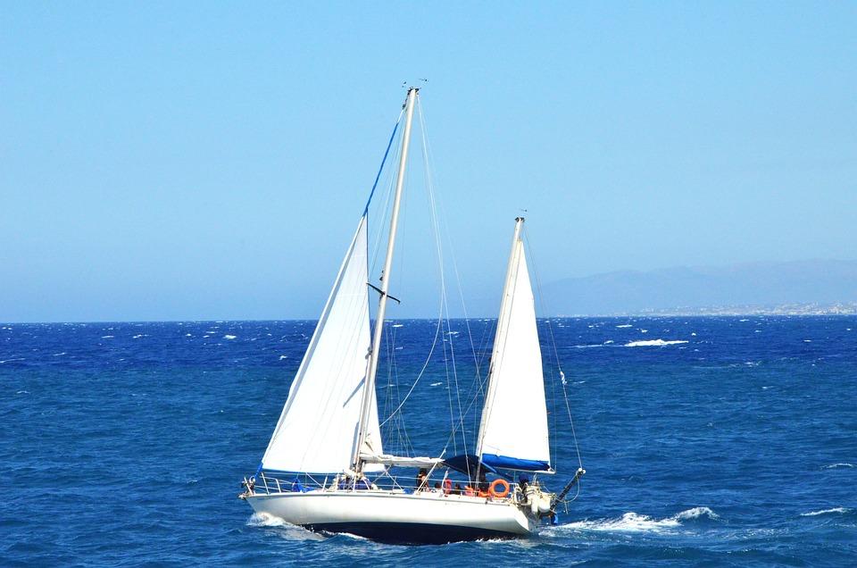 Crete, Boat, Sails, Sea, Water, Greece, Holiday