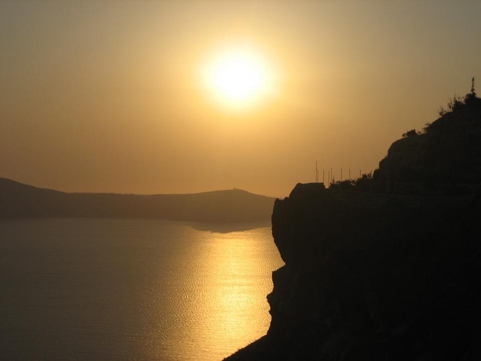 Sea, Sunset, Santorini, Abendstimmung, Water, Evening