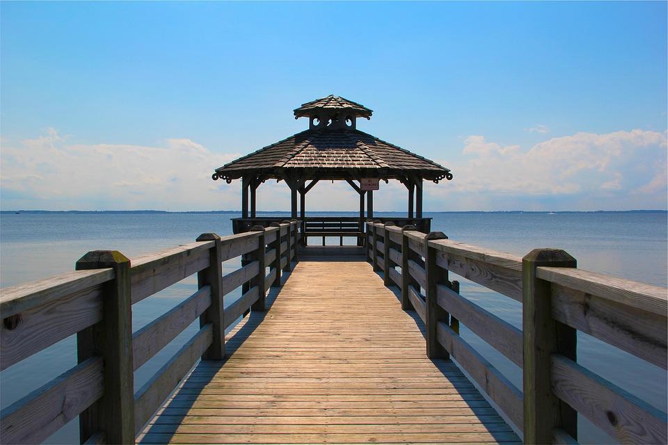 Pier, Gazebo, Ocean, Sea, Water, Blue, Sky, Sunshine