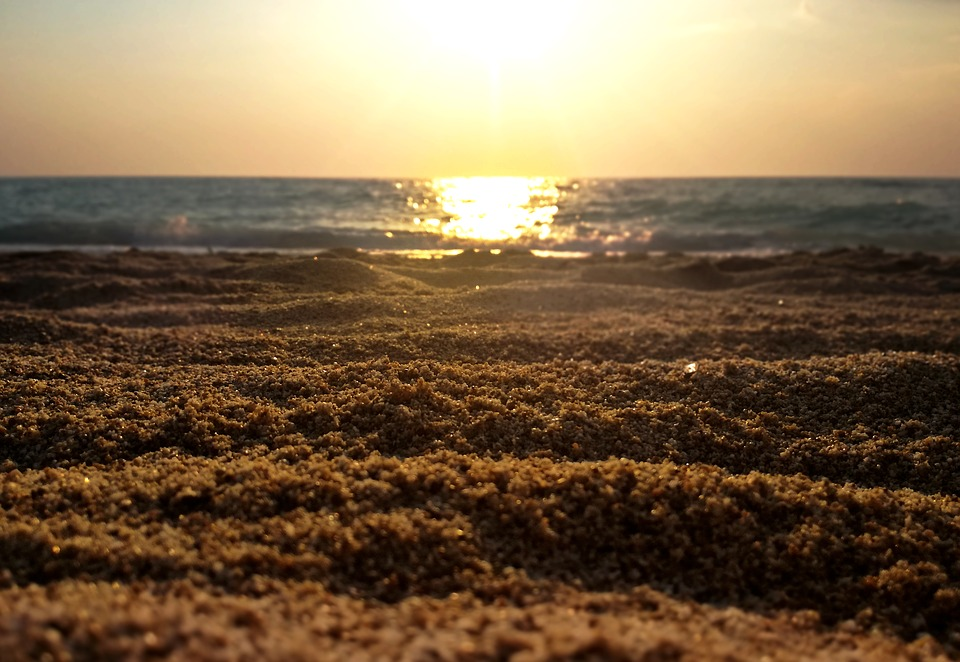 Beach, Sunset, Sea, Water, Gold, Sand, Nature