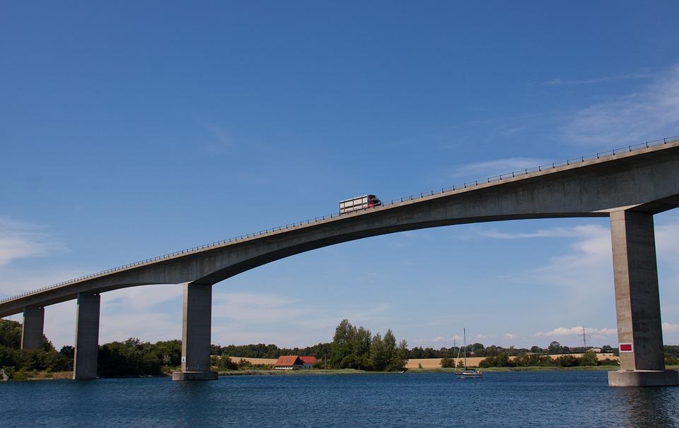 Transportation, Bridge, Truck, Blue, Cloud, Sea, Water