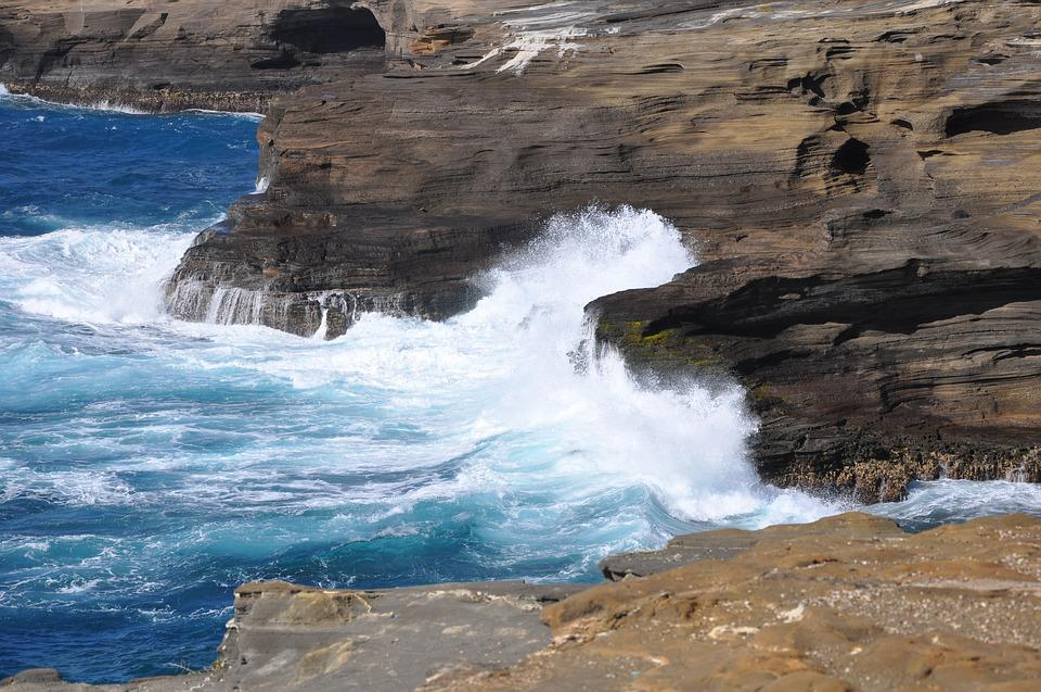 Hawaii, Big Island, Waves, Sea, Water, Spray, Rocks