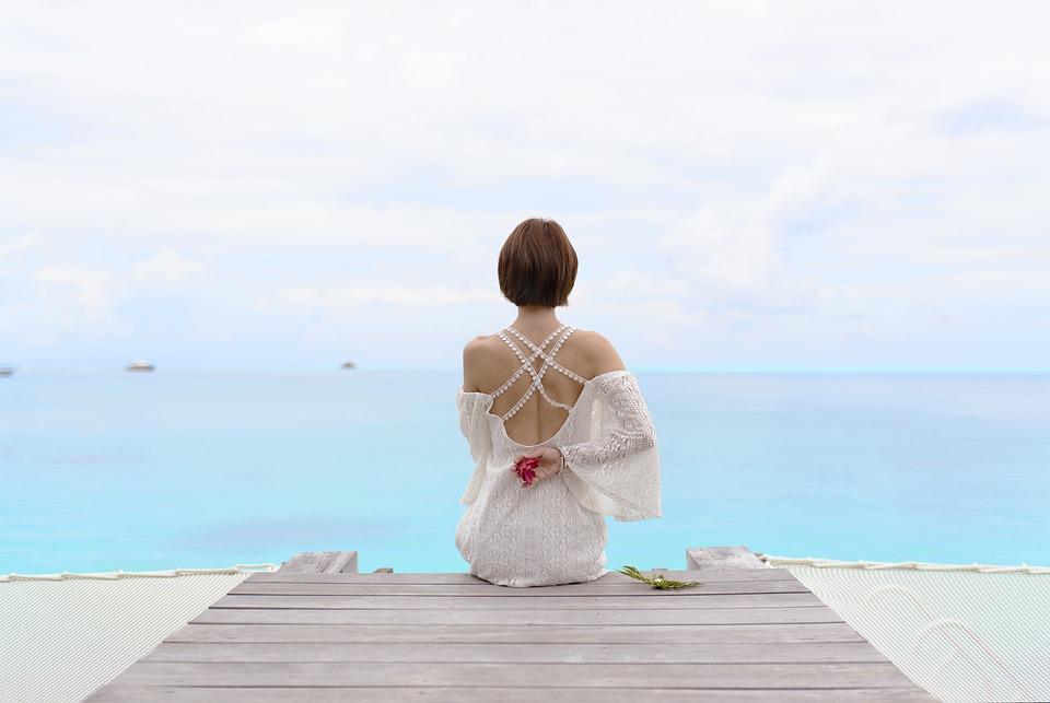 Sea, Waters, Sky, Tahiti, Lady, Girls, Woman