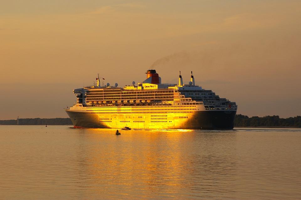 Waters, Ship, Sunset, Sea