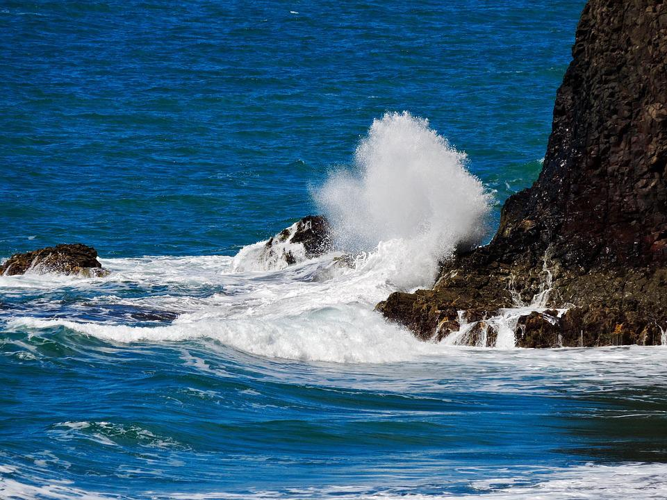 Wave, Rock, Spray, Ocean, Water, Sea, Coast, Beach