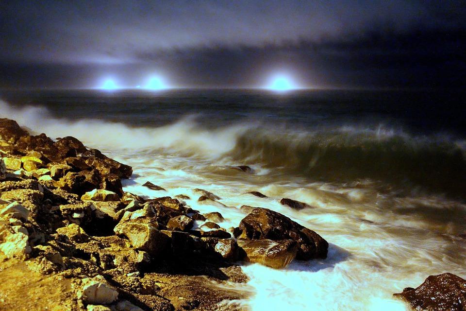 Sea, Night, Waves, Water