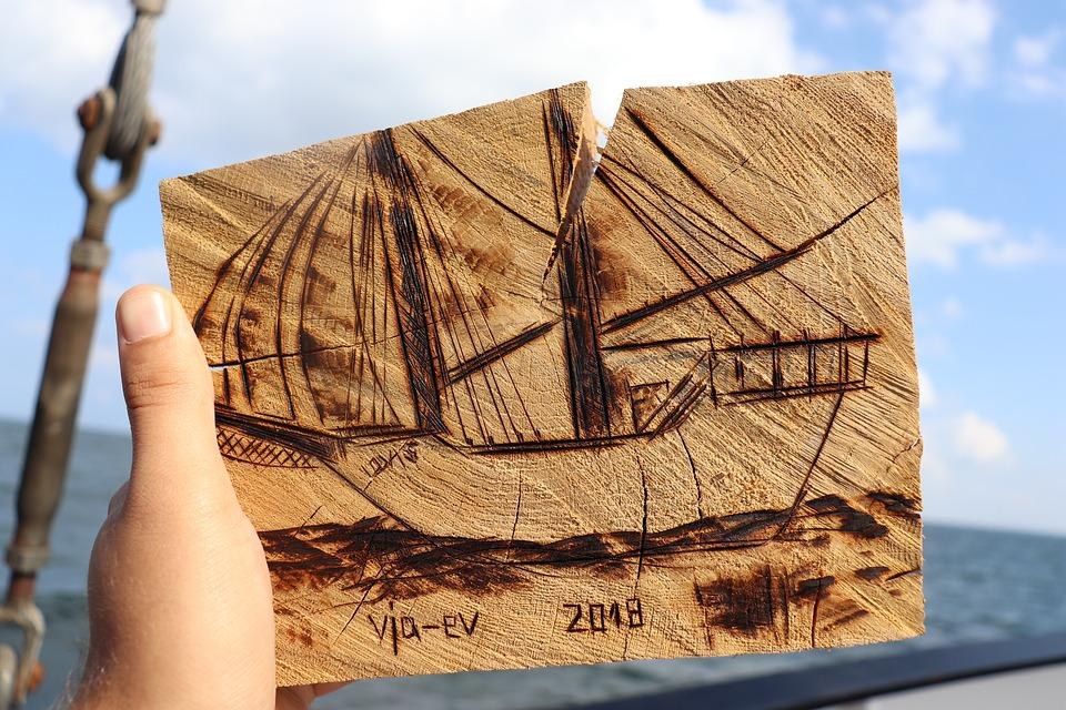 Ship, Woodcut, Wood, Carve, Sea, Sail