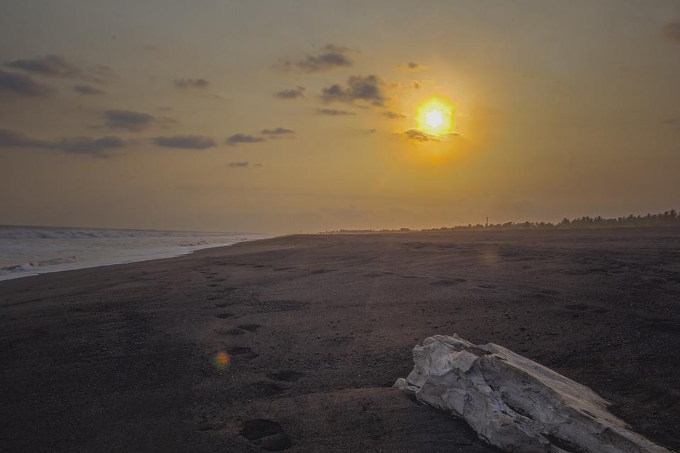 Sea, Run, Silhouette, Wood, Sun, Water, Clouds