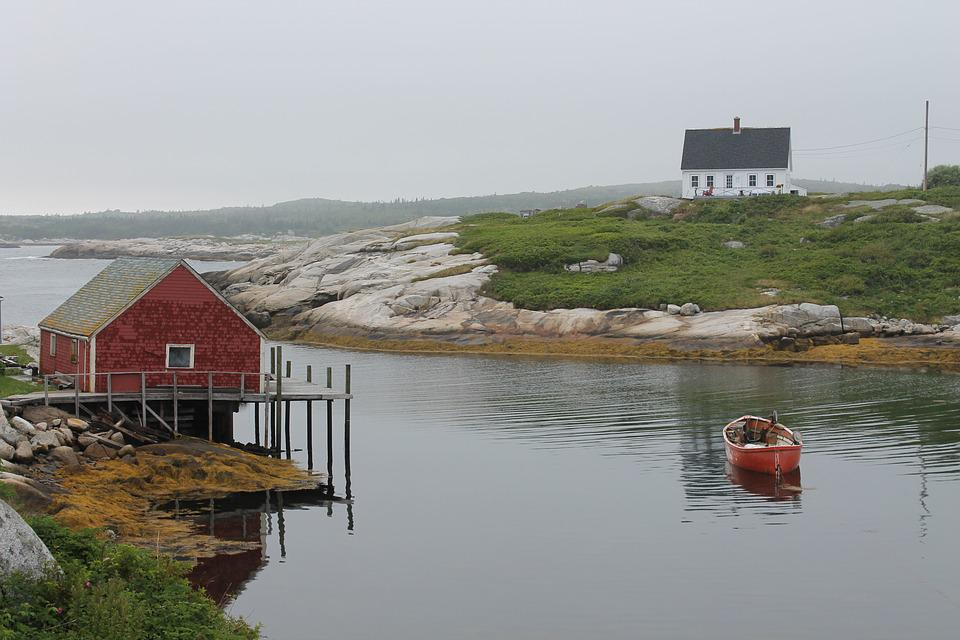 Peggy's Cove, Landscape, Sea, Boat, Seascape