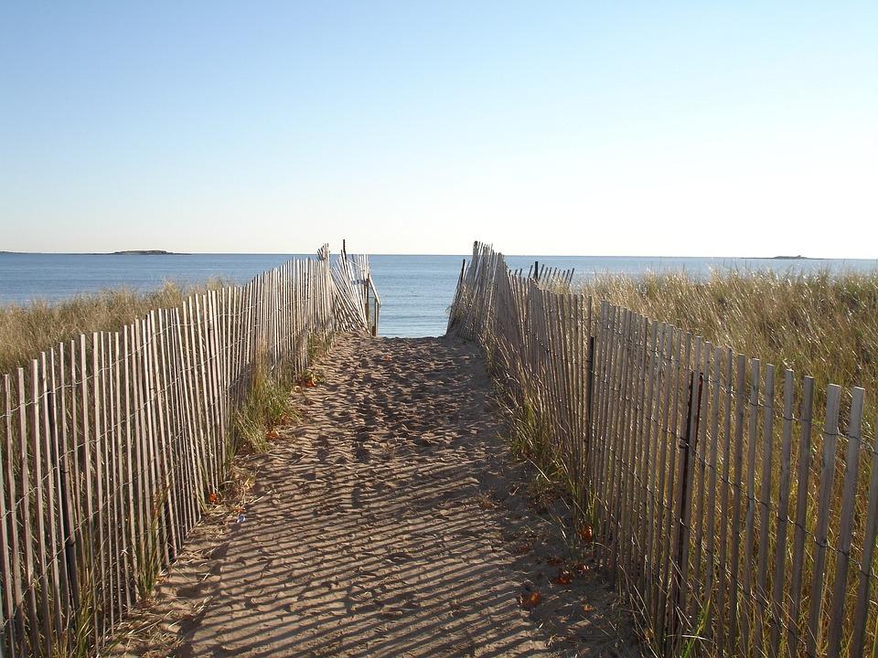 New England, Path, Fence, Ocean, Sea, Beach, Seascape