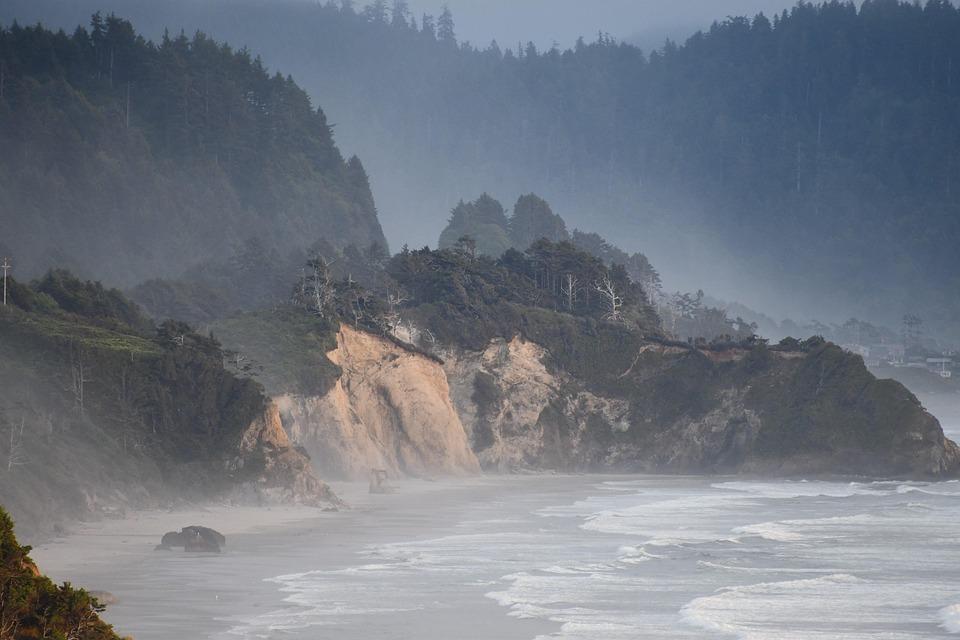 Pacific, Ocean, Oregon, Coast, Misty, Seascape