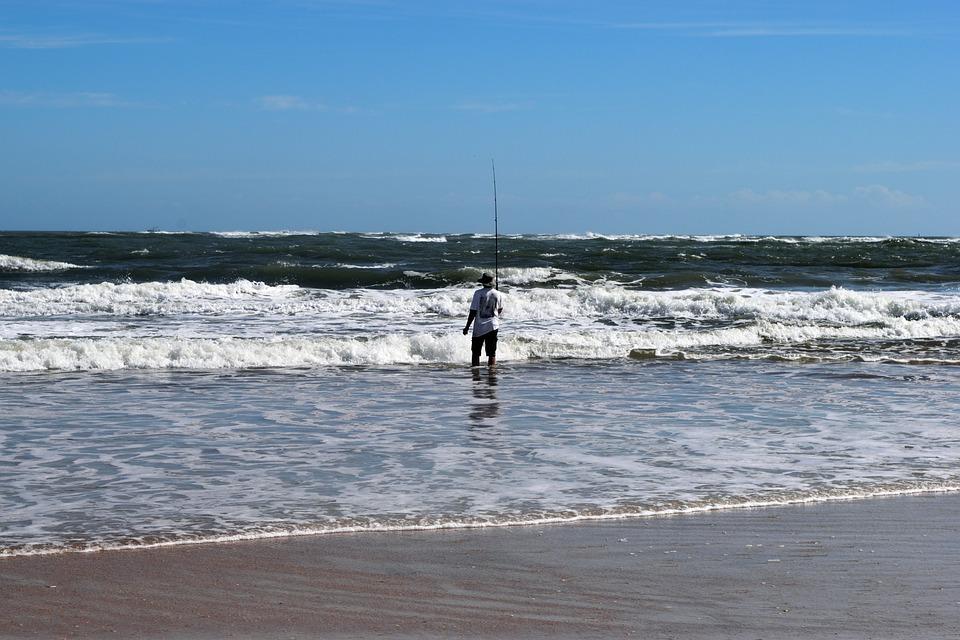 Surf Fisherman, Person, Landscape, Seascape, Rod