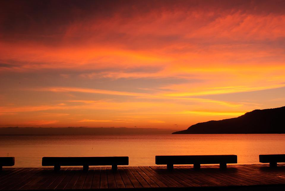 Sunrise, Seascape, Silhouette, Landscape, Horizon