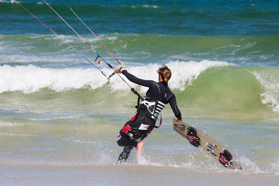 Kite Surfer, Seashore, Surf, Sea, Wind, Waves