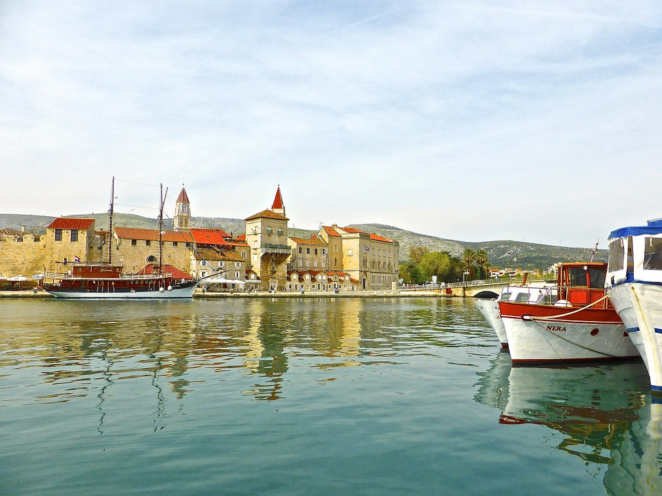 Seaside, Trogir, Townscape, Water, Boats, Reflections